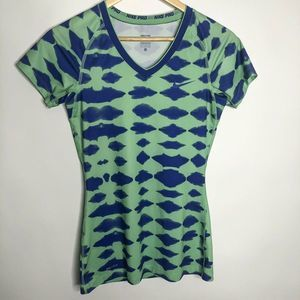Nike Pro Dri Fit Green And Blue Workout Tee Small